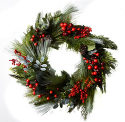 CEDAR BERRY WREATH - 22""
