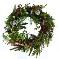 CINNAMON & HOLLY BERRY WREATH - 22""