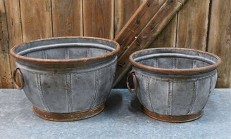"GALVANIZED VASE PLANTER SET/2 - 15.75 X 9"", 13 X 7.8"""