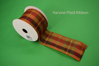 "HARVEST PLAID RIBBON - 2.5"" X 10 YDS"