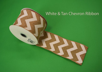 "WHITE / TAN CHEVRON RIBBON - 2.5"" X 10 YDS"