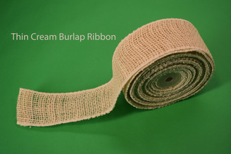 "THIN CREAM BURLAP RIBBON - 2"" X 10 YDS"