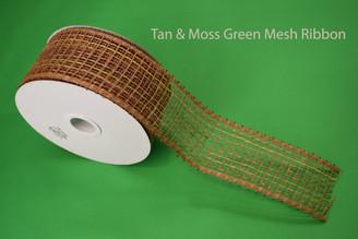 """TAN / MOSS GREEN MESH RIBBON - 2.5"""" X 20 YDS"""