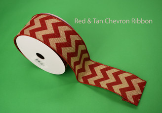 "RED / TAN CHEVRON RIBBON - 2.5"" X 10 YDS"