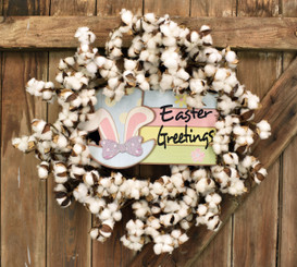 EASTER GREETINGS COTTON WREATH 28""