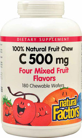 Natural Factors 100% Natural Fruit Chew C Mixed Fruit - 500 mg - 180 Chewable Wafers