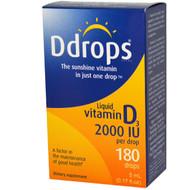 D Drops, Liquid Vitamin D3, 2000 IU, 0.17 fl oz (5 ml)