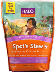 Halo Purely For Pets, Spots Stew Toy and Small Breed Formula,  Wholesome Chicken - 4 lbs