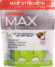 Coromega Max High Concentrate Omega-3 Fish Oil Squeeze Shots Coconut Bliss -- 30 Squeeze Shots