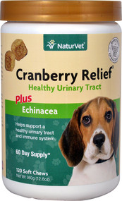 NaturVet Cranberry Relief Plus Echinacea Healthy Urinary Tract for Dogs - 120 Soft Chews