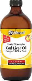 Vitaco Liquid Norwegian Cod Liver Oil Omega-3 EPA + DHA Lemon -- 16.9 fl oz