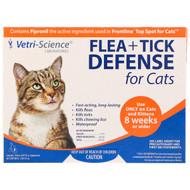 Vetri-Science, Flea + Tick Defense for Cats 8 Weeks or Older, 3 Applicators, 0.017 fl oz Each