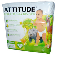 ATTITUDE, Diapers, Junior, Size 5, 27+ lbs (12+, 22 Diapers