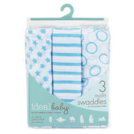 Ideal Baby By The Makers of Aden + Anais Boy Muslin Swaddles Sunny Side - 3 Pack