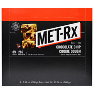 MET-R|X, Big 100, Meal Replacement Bar, Chocolate Chip Cookie Dough, 9 Bars, 3.52 oz (100 g) Each
