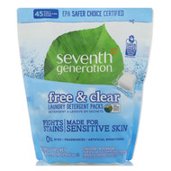 Seventh Generation, Laundry Detergent Packs, Free & Clear, 45 Packs, 31.7 oz (900 g)