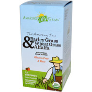 Amazing Grass, The Amazing Trio, Barley Grass, Wheat Grass & Alfalfa, Drink Powder, 15 Individual Packets, 8 g Each