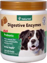 NaturVet Digestive Enzymes Plus Probiotic Soft Chews for Dogs -- 120 Soft Chews