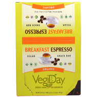 Natural Factors, VegiDay, Organic Snack Bar, Breakfast Espresso, 12 Bars, 1.41 oz (40 g) Each