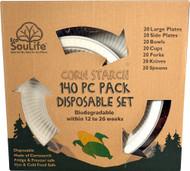 EcoSouLife Cornstarch 140 Piece Pack Disposable Dishes Set - 1 Set