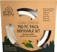 EcoSouLife Cornstarch 140 Piece Pack Disposable Dishes Set - 1 Set