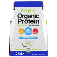 Orgain, Organic Protein Nutritional Protein Shake, Vanilla Bean Flavor, 4 Pack, 14 fl oz (414 ml) Each