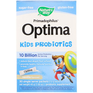 Natures Way, Primadophilus Optima Kids Probiotics, Vanilla Flavored, 30 Single Serve Packets, 1.5 g Each