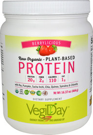 Natural Factors VegiDay Raw Organic Plant-Based Protein Very Berry -- 16.37 oz