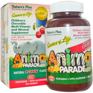 Natures Plus, Source of Life, Animal Parade, Childrens Chewable Multi-Vitamin and Mineral Supplement, Natural Cherry Flavor, 180 Animals