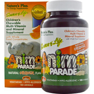 Natures Plus, Source of Life, Animal Parade, Childrens Chewable Multi-Vitamin & Mineral Supplement, Natural Orange Flavor, 180 Animals
