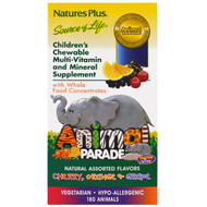 Natures Plus, Animal Parade, Childrens Chewable Multi-Vitamin and Mineral, Assorted Flavors, 180 Animal-Shaped Tablets