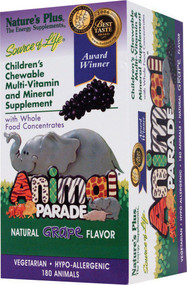Natures Plus, Childrens Chewable Multi-Vitamin and Mineral Supplement, Natural Grape Flavor, 180 Animals