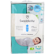 Summer Infant, Swaddle Me, Original Swaddle, Large, 4-6 Months, Elephant Pebble, 2 Swaddles