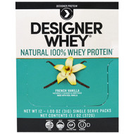 Designer Protein, Designer Whey, Natural 100% Whey Protein, French Vanilla, 12 Packs, 1.09 oz (31 g) Each