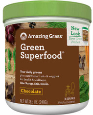 Amazing Grass Green SuperFood Drink Powder Cacao Chocolate Infusion - 8.5 oz