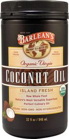 Barleans Organic Virgin Coconut Oil Island Fresh -- 32 fl oz