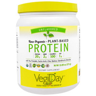 Natural Factors, VegiDay, Raw Organic Plant-Based Protein, Unflavored , 13.09 oz (371 g)