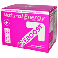 EBOOST, Natural Energy, Pink Lemonade, 20 Packets, 6.8 g Each