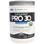 Designer Protein, Organic, Pro 30, Natural Vanilla, 1.29 lbs (586 g)