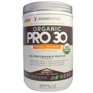 Designer Protein, Organic Pro 30, Performance Protein, Natural Chocolate, 1.29 lbs (586 g)