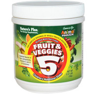 Natures Plus, Source of Life Animal Parade, Fruits & Veggies 5, Childrens Nutritional Shake, Mixed Fruit, 0.57 lbs (260 g)