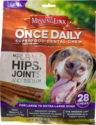 The Missing Link Once Daily Superfood Dental Chew Hips & Joints LG-XL Dogs - 28 Chews