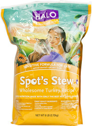 Halo Purely For Pets, Spots Stew Sensitive Formula For Cats, Wholesome Turkey - 6 lbs