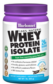 Bluebonnet Nutrition 100% Natural Whey Protein Isolate Natural French Vanilla -- 1 lbs