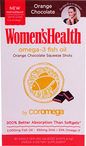 Coromega Women's Health Omega-3 Fish Oil Squeeze Shots Orange Chocolate - 90 Packets