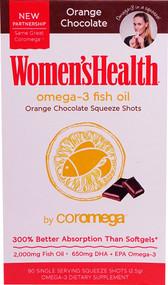 Coromega Womens Health Omega-3 Fish Oil Squeeze Shots Orange Chocolate - 90 Packets