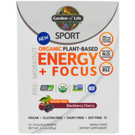 Garden of Life, Sport, Organic Plant-Based Energy + Focus, Pre-Workout, Sugar Free, Blackberry Cherry, 12 Packets, 0.2 oz (6 g) Each
