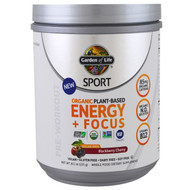 Garden of Life, Sport, Organic Plant-Based Energy + Focus, Pre-Workout, Sugar Free, Blackberry Cherry , 8.1 oz (231 g)