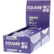 Square Organics, Organic Protein Bar, Chocolate Coated Cookie Dough, 12 Bars, 1.6 oz (44 g) Each
