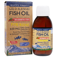 Wileys Finest, Wild Alaskan Fish Oil, For Kids!, Beginners DHA, Natural Strawberry Watermelon Flavor, 650 mg, 4.23 fl oz (125 ml)
